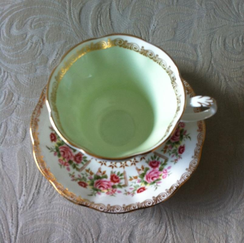 ROYAL ALBERT Green Park Series Fine Bone China CUP + SAUCER _ THE Green Inside and various colours_ Green Hard to Find_ GOLD Trim
