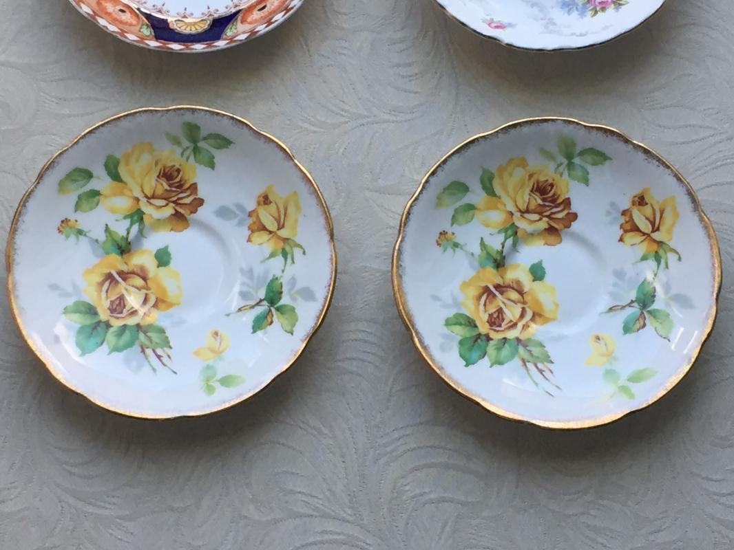 ROYAL ALBERT Crown China COBALT BLUE & GOLD _ Imari Style_ Orange Poppy Pattern_ Hard to Find + RA Tranquillity + 2 Royal Stafford Yellow Rose Saucers. Lot 4 PIECES