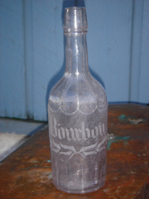 Antique Bourbon Bottle  SIZE 10.5 Inches High ~ Acid Etched Scrolled Text  ~  AMETHYST  Color  ~  GENUINE Original Carefully Hand Dug from Old City Dump British Columbia , Canada  Historical Artifact