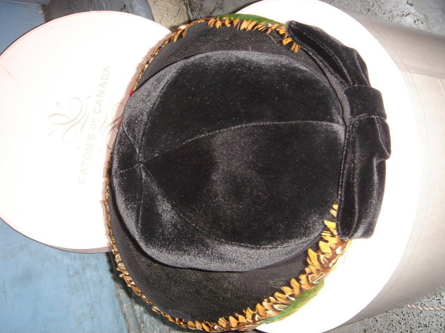 Vintage Apparel~  Ladies HAT  ~ COLLECTOR Have a Look!!! GENUINE FEATHERS + Velvet Fabric.~~ In Mint Condition Ladies Custom -Made Winter Hat ORIGINALLY from EATON'S CANADA Size 10.5