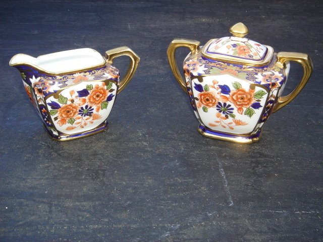 Porcelain from Estate  ~ 3 pcs ~ NORITAKE CREAM AND SUGAR with Lid. Royal Blue with Gold Gilt. Excellent Condition.