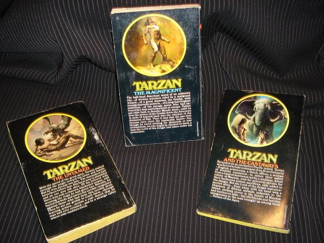 Books Paperbacks Edgar Rice Burroughs Cover Art Boris Vallejo Titles: TARZAN The Magnificent ; Tarzan And the Castaways ; Tarzan The Untamed ~ unbroken spine of paperbacks  For Age CLEAN + Tidy