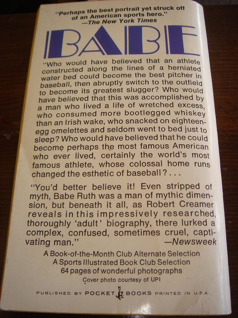 Collectible SPORTS Memorabilia ~ Vintage BABE The Legend Comes to Life ~ Babe Ruth American Sports Figure. Pocket Book / Paper Back ~  452 Clean Pages