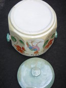 Collectible JAPAN Cookie Jar with Bird of Paradise . CLEAN, CLEAN, CLEAN No Damage. May require handle or use way is.