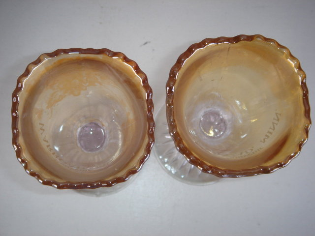 Antique Glass Goblets CIRCA 1912 SOUVENIR from WARROAD, MINN ~~ TWO~~ Each a little Different.~  4 Point Mold Bottom of Glass. Turning Amethyst On Bottom. Flashed on Gold Main Part of Each Goblet.