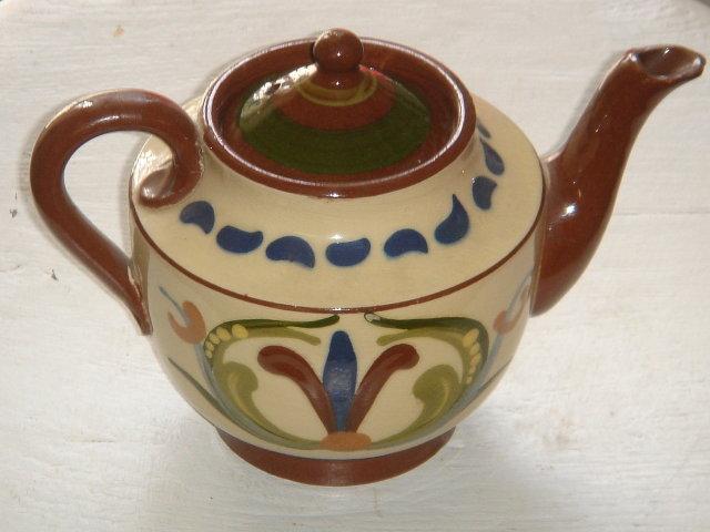 Antique Torquay Pottery TEAPOT  Circa 1905-1923 with Folk Lore Words