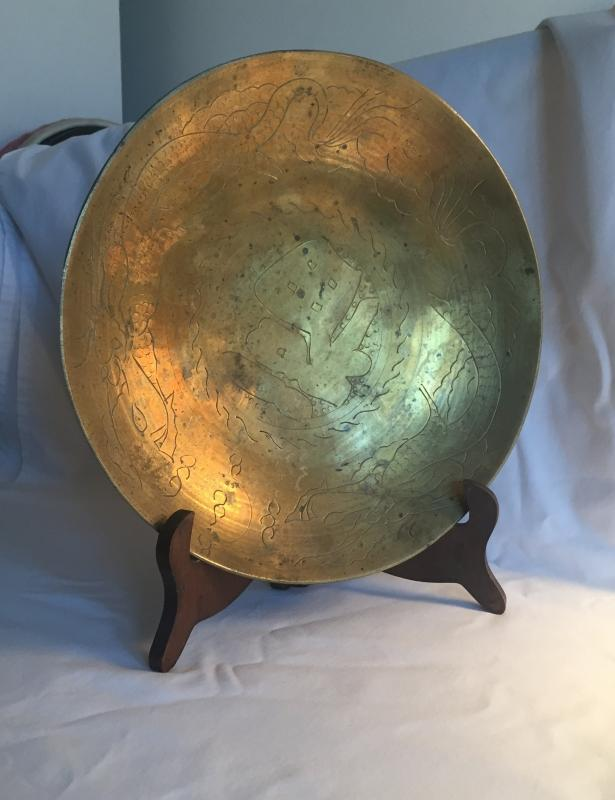 Solid Brass Bowl / plate / RINGS LIKE BELL when tapped with pencil. Hand crafted Hand Etched Carved CHINA Circa 1880-1900