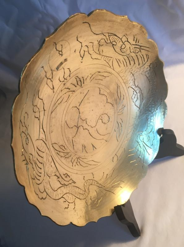 Circa 1880-1900 CHINA Solid spun Brass Bowl _Hand Etched_ Carved_ RINGS like a bell / Gong when tapped with pencil