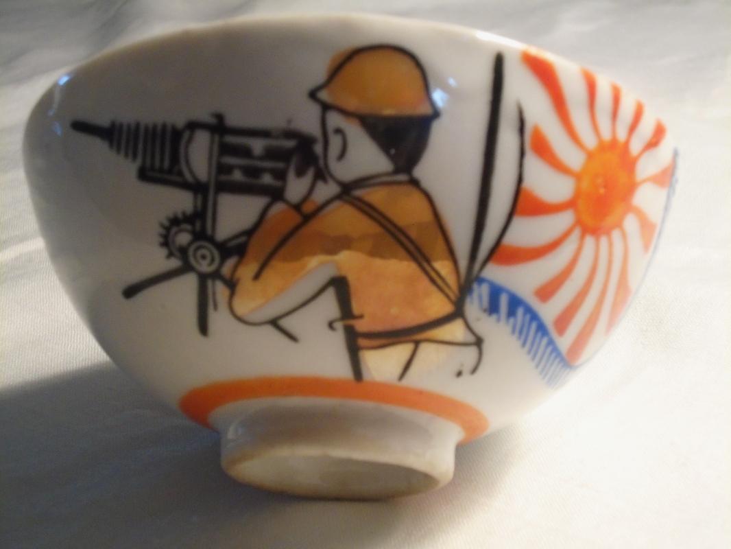 WW1_ EMPEROR of JAPAN Military Flag + Machine Gun Soldier + Air Plane + Bursting bullet _RARE _Rice Bowl _ARTIFACT_ Hand Dug from ground_NO DAMAGE!!!