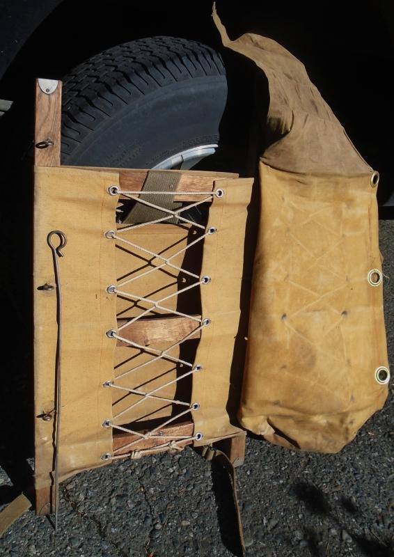 Circa 1930s TRAPPER NELSON INDIAN PACK BOARD _Estate of Boy Scout Leader: Douglas A Morgan Sr._Note Nails thru Steel Cap on each Post = Early Pack Board