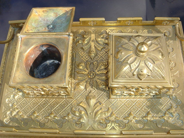 Beautiful ANTIQUE Solid Brass DOUBLE INKWELL on Ornate Handled Tray. ~ Circa 1880 ~ Germany with FRENCH Influence during era_ in EXCELLENT Condition