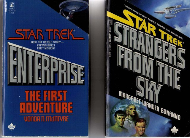 Vintage PAPERBACK Books  ~ STAR TREK  Strangers From the Sky  by Margaret Wander Bonanno 1st Printing July 1987 + STAR TREK Enterprise 1986