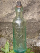 c1899 W.E.RUMMINGS NANAIMO, B.C. Aqua Color POP BOTTLE  Inside Thread Screw ~ B.C. Historical Artifact. HAND-DUG from the  ground in Local Site. with the Famous Coal Miners Pick + Shovel Logo. From Nanaimo's Early Coal Mining Era.