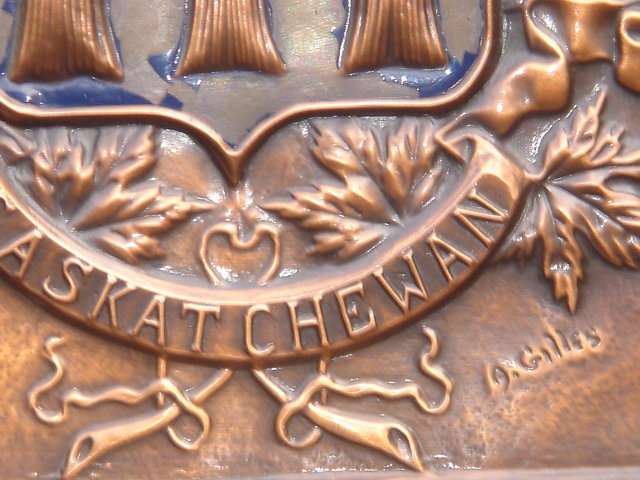 This is Rare Old & HEAVY 7 1/2 LBS School House SOLID COPPER PLAQUE ~ ORIGINAL ART~ Signed by  Artist. from Saskatchewan, Canada ~ LARGE 16