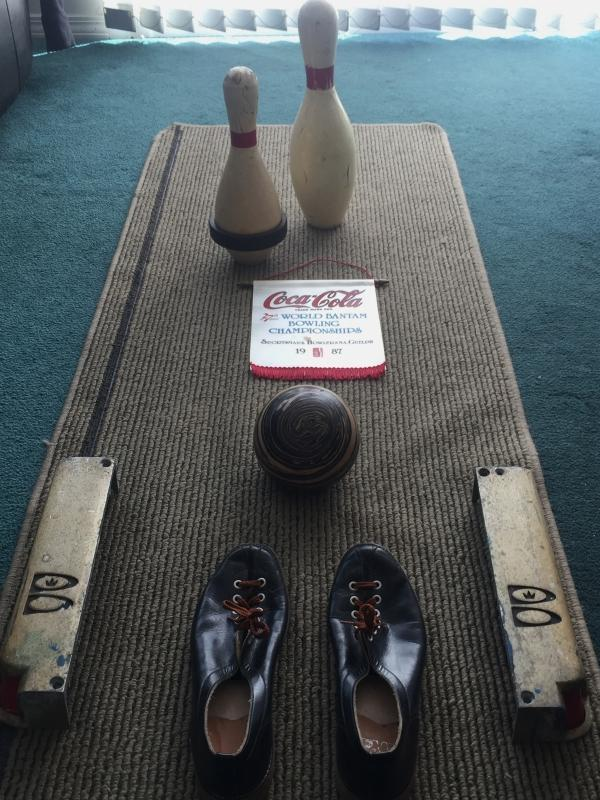 BOWLING COLLECTION Brunswick Lane Light frames ; Pair Size 8 Bowling Shoes ; Swirls Bowling Ball ; Short Pin ; Tall Pin & Coca Cola small banner