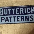 Circa 1863 _BUTTERICK PATTERNS Heavy Duty Steel ENAMEL Antique SIGN _ Historical Artifact from China Town Nanaimo, BC. Canada