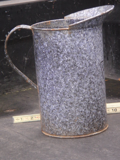 Antique Circa  Early 1900 ~ ONE GALLON GSW ~  GRANITEWARE Jug  ~ The Large ONE GALLON ~ For Age a Beauty in most respects.