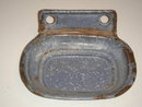 Antique Circa 1880's Blue Grey GRANITEWARE 2pc SOAP DISH ~ Mounts on the Wall  ~ from British Columbia Historical COAL MINER'S Cabin ~ Artifact