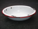 Collectible  ~ SMALL Red + White Enamel  Oval Bowl