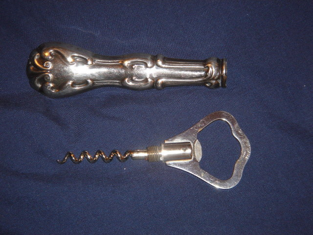 Sterling Silver CORK SCREW__ ORNATE HANDLE CORKSCREW with Bottle Opener. Germany  In Excellent Condition.