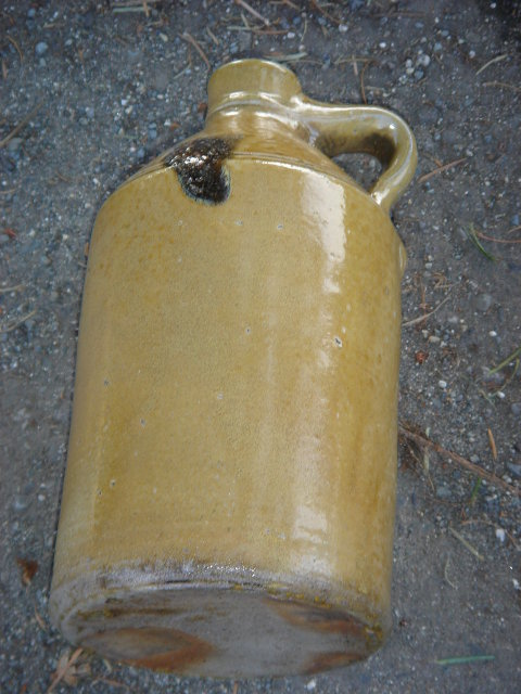 Antique early  STONEWARE Crockery Jug.  ~ Small Size  8.75 Inches High ~ Collectors Note : Unusual Find with KILN KISS
