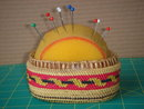 Collectible North American INDIAN Native ART __Find Beauty in Finely Handwoven Pin Cushion BASKET. Over the Years in use  from Local Tailor Shop. Kept in Nice ORIGINAL Condition. ~ NOOTKA Basket from WESTCOAST of Vancouver Island