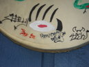 Collectible NORTH AMERICAN Metis INDIAN ART ~ Handcrafted LARGE METIS DRUM with Cariboo Hide. Note: the Metis  Art Design and HAND SIGNED