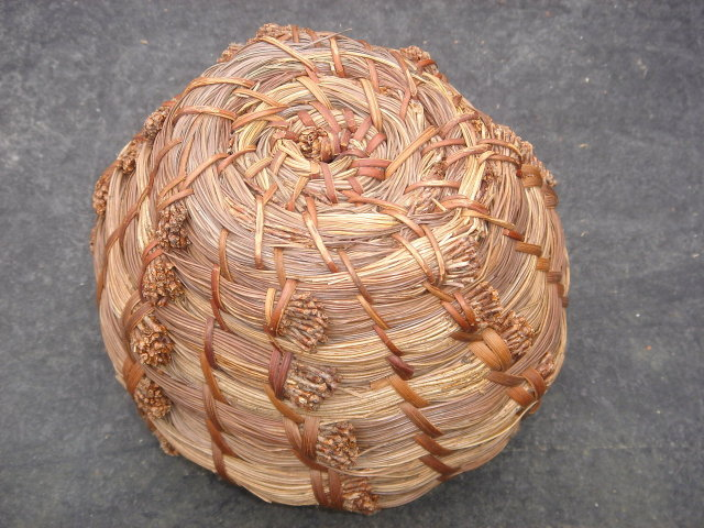 North American 1st Nations Basketry ART ~ Eastern Pine Needle Coil Basket ~ Beautiful Work
