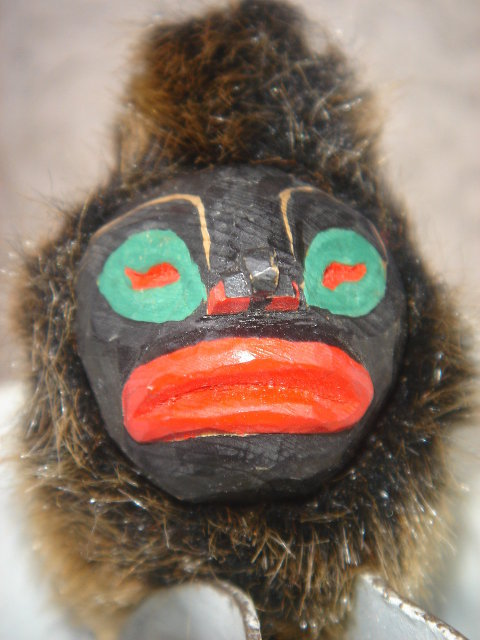 Northwest Coast MINIATURE MASK ~ Handcarved Cedar Wood with Fur