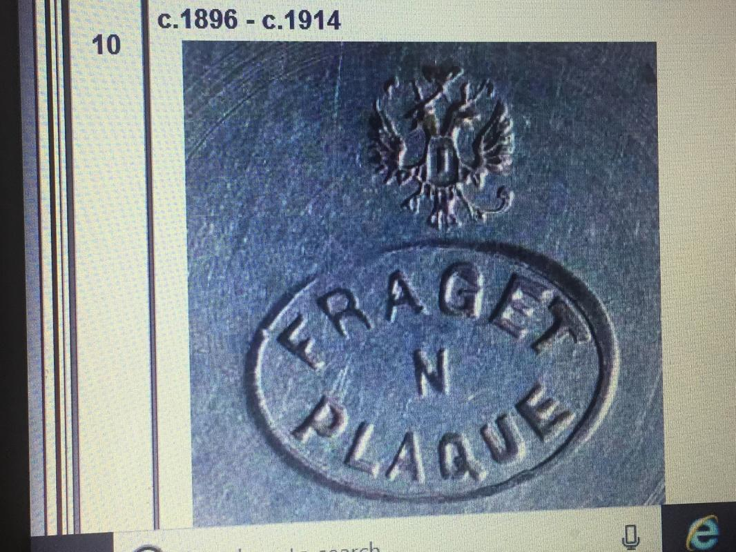 c1896 FRAGET  N   PLAQUE _GAWL_ RUSSIAN LOGO _Large SERVING SPOON_ Script name on end of spoon