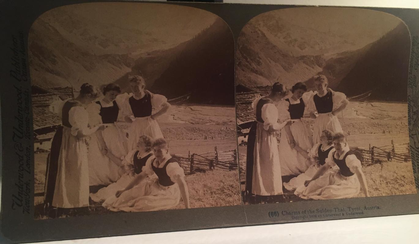 Circa 1898 CHARMS of the Sulden-Thal, Tyrol, Austria _Underwood & Underwood Stereoview Card