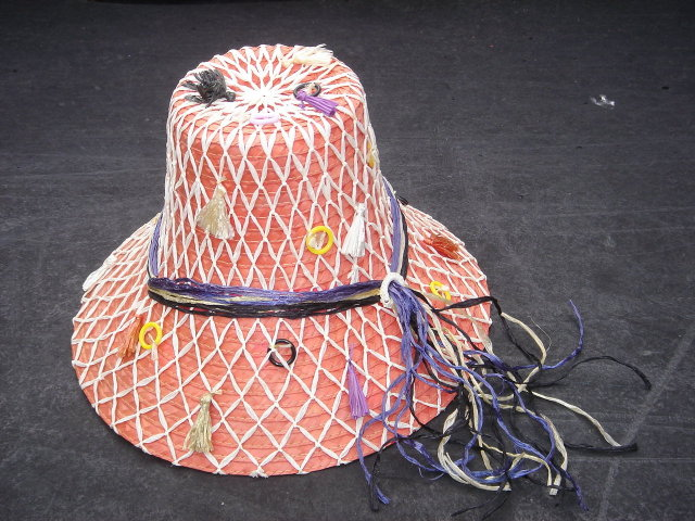 Vintage Red or CRIMSON Woven Hat ~ with Original Japan Label ~ 1960's 1970's era ~ Unique Design