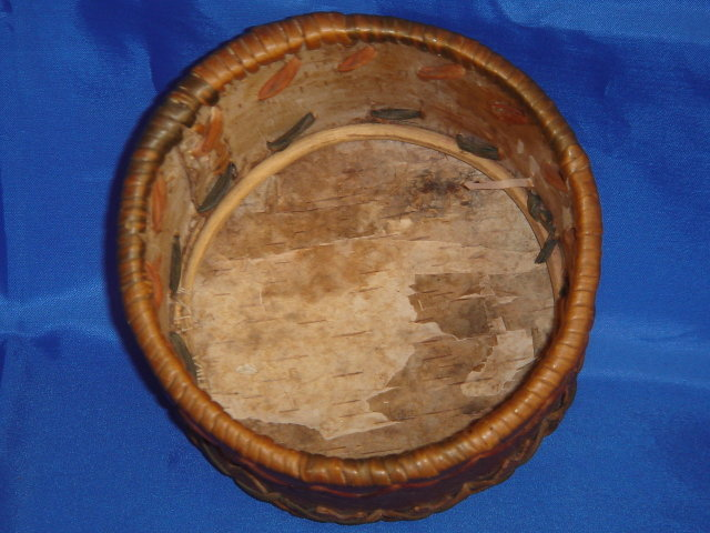 North American First Nations Basketry ~ Collectible  Basket ~ Bark Construction ~ Subarea : Prince George , B.C. Canada ~ Size 4.5