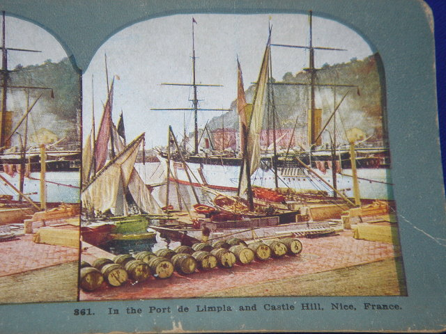 Antique Stereoview Card ~ No. 861 Port De Limpia and Castle Hill, Nice, France ~ Tall Ship + Vessels in the Harbour