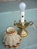 Collectible Bedside Lamp ~ ALADDIN SHAPE~ Brass Finish ~ with Fabric Shade