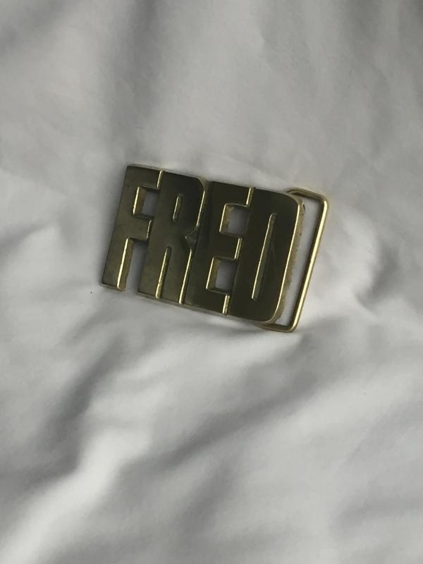 FRED _Solid BRASS Belt Buckle _ c1978_in Excellent CLEAN Condition