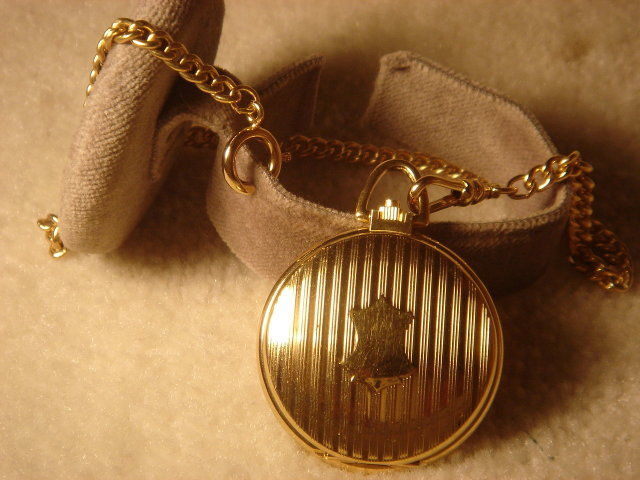 NEW _Colibri GOLD TONE POCKET WATCH _ Quality Quartz _Subdial _With Gold Tone Watch Fob ...Perfect Gift item