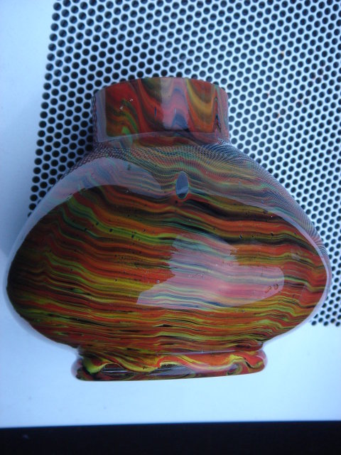 ART GLASS __End of the Day GLASS __Vase 5 Inches Tall __ARTS-N-CRAFTS era