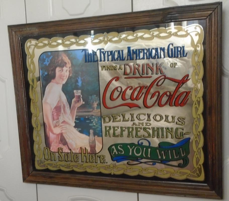 image 1920s LARGE Coca-Cola ADVERTISING GLASS MIRROR 27