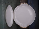 TWO PLATES....Collectible Vintage _ROYAL ALBERT Bone     China England _Pattern: VAL DOR __Two  Handle Cake Plate + Oval Gravy Underplate /  NUT DISH / Pickle Plate White with GOLD Gilt