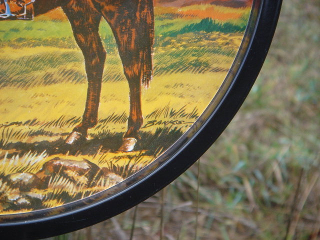Canada Famous Collectible Royal Canadian Mounted Police on Horse__ SIGNED: Banks __UNUSUAL to FIND !!! ROUND Metal TRAY
