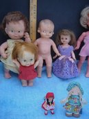Vintage LOT of  7 DOLLS _example_Advertising Collectible a Campbell's Soup SQUEEZE DOLL