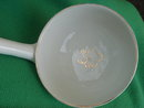 LARGE 13 Inch LONG  White & GOLD Porcelain Ladle features Gold Gild  Trim with Shamrock in Centre of 4.25