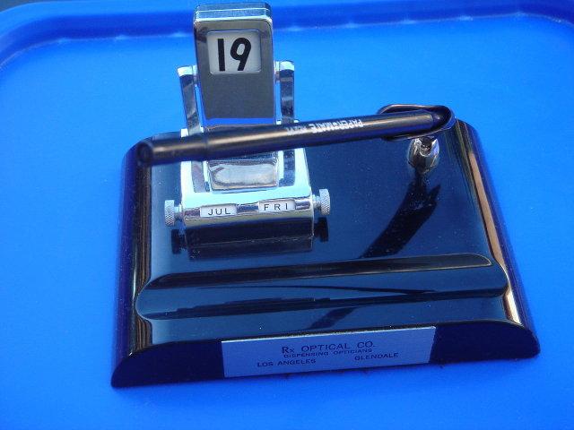 Vintage Desk Set _Calendar Month,Day,Date , Folds over, PAPERMATE Pen , Well Holder Vintage Metal tag Reads Rx Optical Co Dispensing Opticians Los Angeles _Glendale