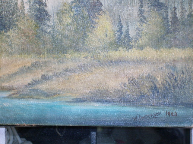 British Columbia Historical Artifact _ORIGINAL Canadian ART_ Oil Painting on Canvas _Circa 1963 _Hand Signed by W. Anderson _SIZE 29 1/2 Inches Widest