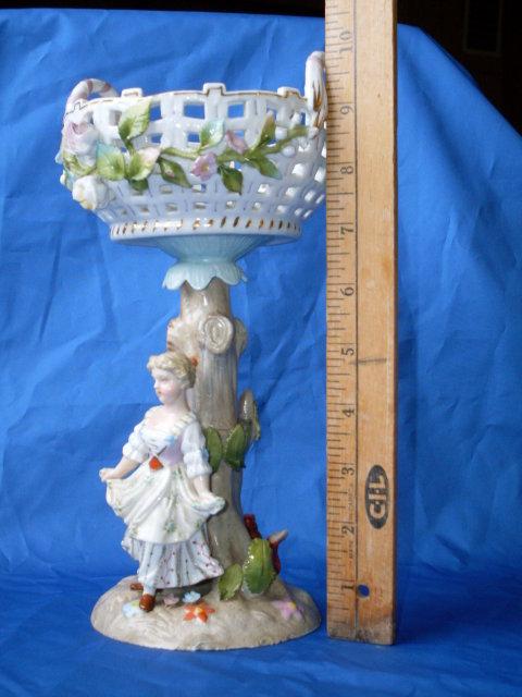 FANTASTIC ANTIQUE ROADSHOW ARTIFACT_ c1820 MINTON /  DRESDEN Porcelain Figurine with Bowl on top. MEISSEN