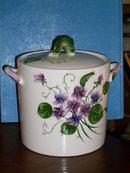 Beautiful VIOLETTA Cookie Jar _ made of  white pottery / porcelain _ Circa 1950's _ Japan_ PY_ Miyawo Company _Exclusive Distrib Canada ESD