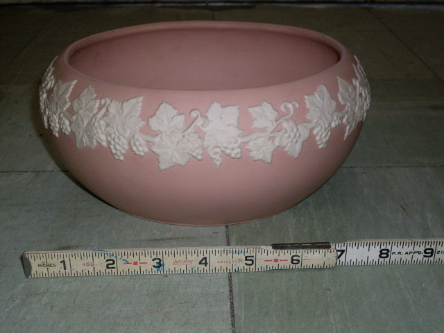 Birthday Gift _Wedgewood Style _ ECanada ART Pottery  _ PINK & White Large Bowl  Jasperware Art Pottery Bowl _Emery 1920's   U.S.A. Buyer SAVE 12% Tax...You DO NOT HAVE TO PAY TAX when we ship to you.