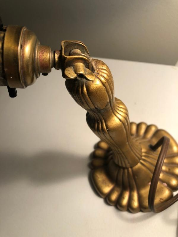 Art Deco / Industrial Brass DESK Lamp light with Adjustable Dome Solid Brass shade. Ornate cast metal base. WORKING!!!