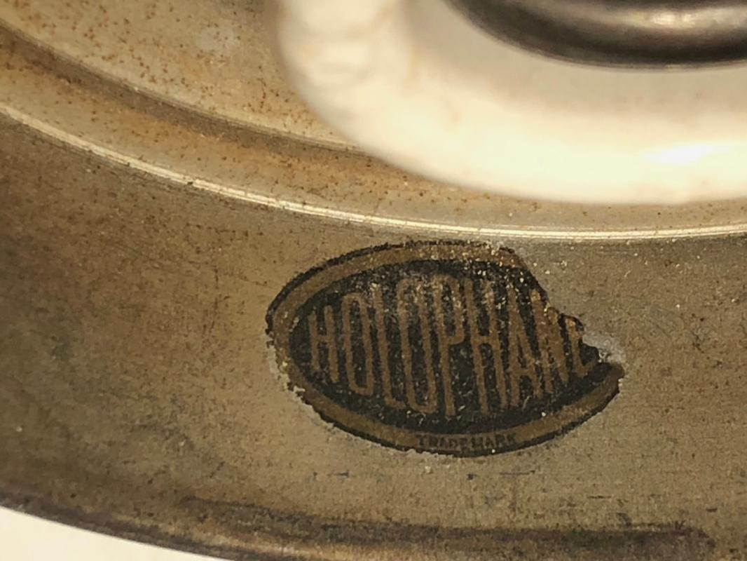 Architectural _ Original circa 1920s _ HOLOPHANE Hanging Light Fixture (Label) Original Art Deco Loops on chain. TESTED Working !!!